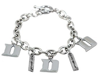 Duke University Blue Devils Silver Bracelet with Charms