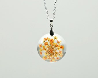 Orange and Yellow Dried Flower Resin Necklace // Botanical Flower Resin Jewelry, Yellow and Orange Real Flower Pendant, Plant Resin Jewelry