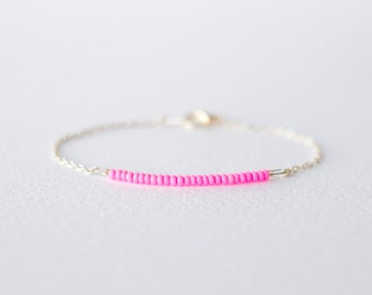 Neon pink and silver bracelet - minimalist jewelry - friendship bracelet