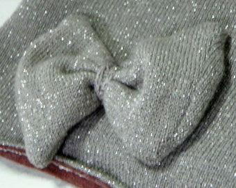 Festive & Sparkly Silver Hat!  Up-Cycled, Warm Winter Hat with a Pin on Bow Handmade Great Gift for Her Marsala Lining