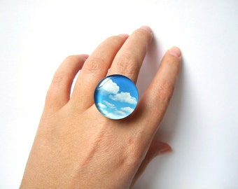 Resin Boho Ring Light Blue Sky and White Clouds