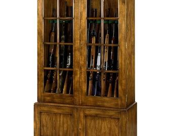 No. 1200 Gun Cabinet in Cherry, Khaki Finish, Antique Distressing