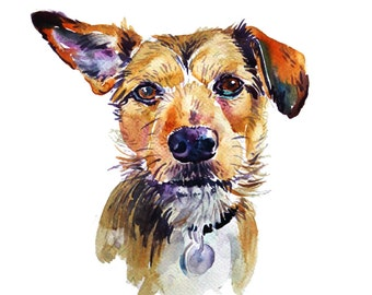 Pet Portrait  Custom Pet Portrait   Custom Portraits  Original Painting  Dog Art  Watercolor Painting - Gift Art - Dogs