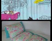 Girls Pillow Bed with Barbie fabric, Nap Mat, Pillow Mattress, Sleepover Bed