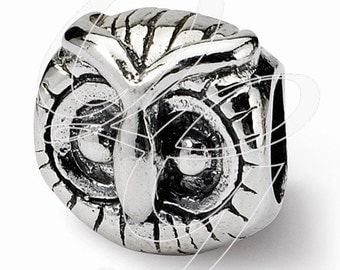 Sterling Silver Reflections Owl Head Bead (rb - 377)