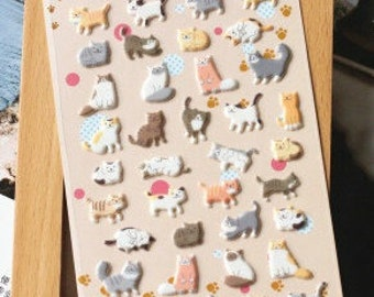 3D Cat Sticker  - 1 Sheet