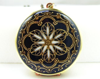 Filigree Locket, Black Filigree Flower Locket, Vintage Locket Photo Locket,Valentine Gift For Her