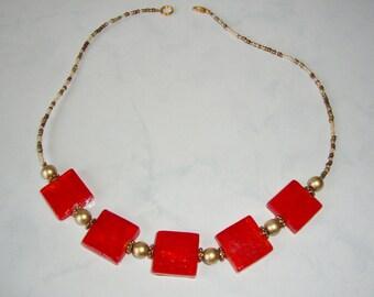 Orange Glass Beaded Necklace, Handmade, Orange and Gold