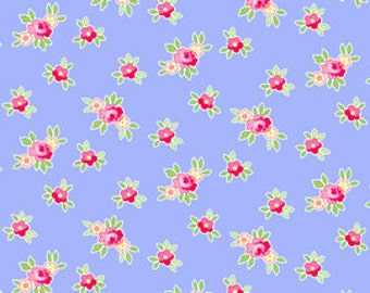 Half Yard of Pam Kitty Picnic's 'Favorite Floral Mini'- Periwinkle, Pam Kitty Morning, Lakehouse Dry Goods