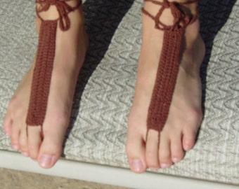 Brown hand crocheted barefoot sandals
