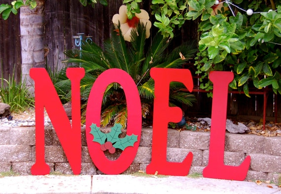 Items similar to large outdoor noel sign for christmas on etsy for Large outdoor christmas signs