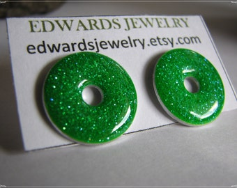 Small Washer Post Earrings Green Sparkles 3002