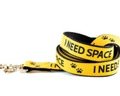 Caution Dog Leash - I Need Space Safety Yellow and Black Training Leash Leash
