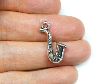 Antique Silver Saxophone Charms 6 QTY