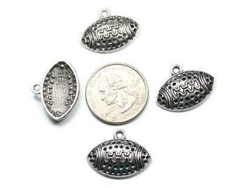Antique Silver Dotted Football Charms 10 QTY