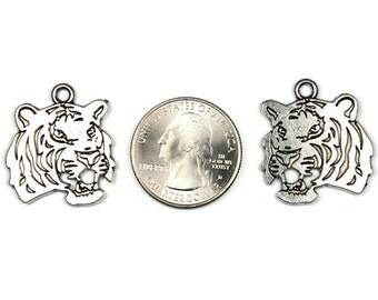 Antique Silver Tiger Head Pendants 3 QTY