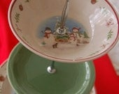Snowmen Scene Christmas Tea Stand/Cake Tray/ Appetizer Tray, 2 matching with middle plate solid Christmas Green(103)