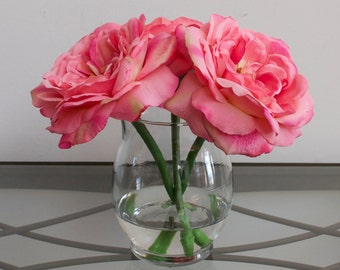Pink Open Roses in Glass Vase with Faux Water, Acrylic Water, Valentines Day