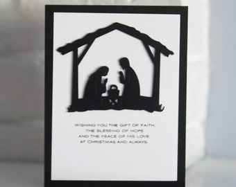 Christmas Nativity Hand Made Card, Faith Hope and Love Christmas Card, Meaning of Christmas Holiday Card, Mary and Joseph Greeting Card