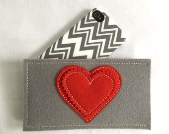 Be Mine Red Heart iPhone Sleeve in Grey Wool Felt with Red Heart applique, Customize for Any Phone!