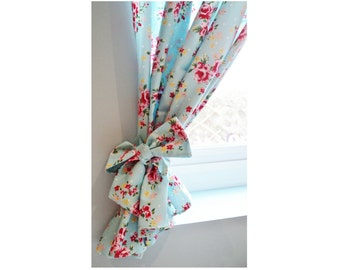 20% OFF Bespoke Rose Floral Polkadot Shabby Chic Lined Curtains Kitsch Retro Vintage Kitchen Made To Measure Drapes in lots of colours