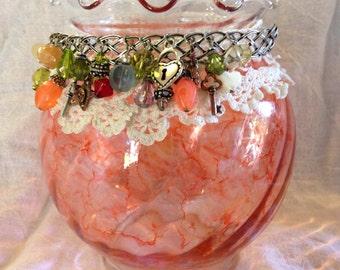 Embellished Glass Vase