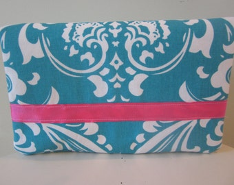 Turquoise Damask Diaper Clutch