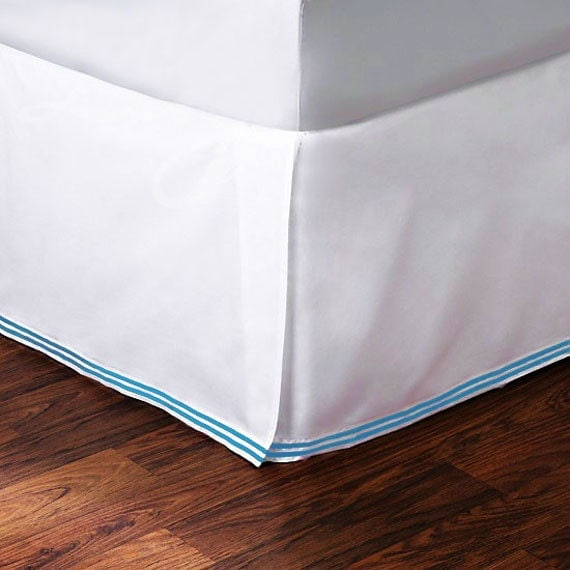 items similar to white 400 tc cotton bed skirt teal blue