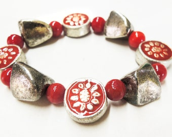 Red and Antiqued Silver Elastic Bracelet Handmade by Lindsey - Vintage Inspired - Red Agate - Antiqued Silver Nuggets - Christmas Gift
