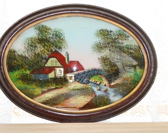 Antique Reverse Painted Convex Oval Glass Art Work Scotland Highlands