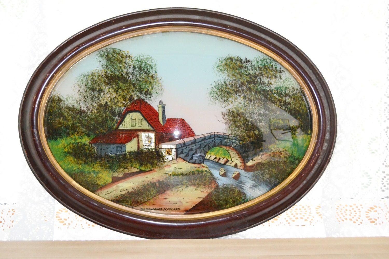 Antique reverse painted convex oval glass art work scotland for Pictures painted on glass