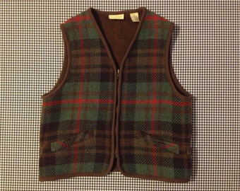 1990's, wool blend, plaid, outdoorsy vest, by Limited america, Women size Medium