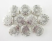 10pcs 12mm Off Round Coin Southwest Sun Silver Plated Bead (F680)