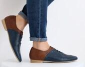 Women's shoes , handmade brown and blue leather flats , ADI KILAV