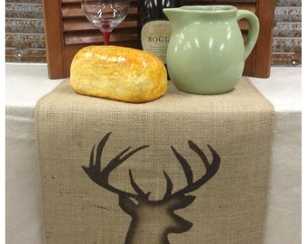 """Burlap Table Runner 12"""", 14"""", & 15"""" wide with a shaded Deer bust on each end - longer lengths Cabin decor Lodge decor"""