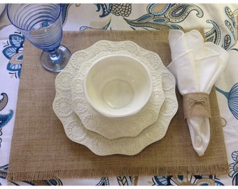 Burlap Placemat Sets - Qty (6) or (8) Home decor, wedding, holiday decorating