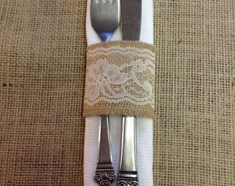 Burlap & Lace Napkin rings  - Set of 4, 6, 8, or 12