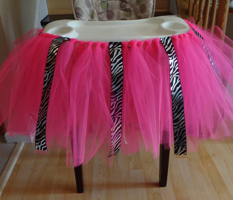 zebra high chair tutu skirt bib table skirt cake smash