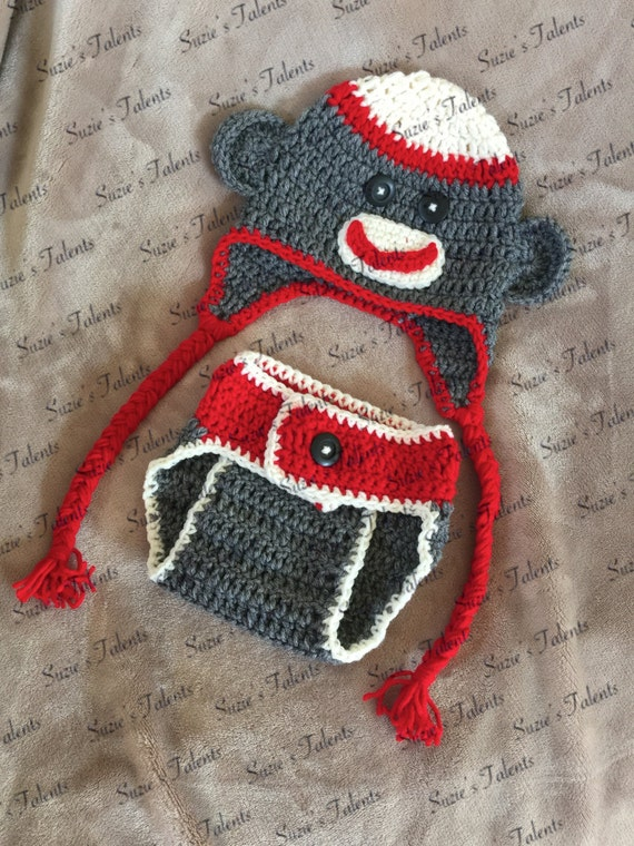 Free Crochet Pattern Sock Monkey Hat For Baby : 2 PATTERNS PT107 Baby Sock Monkey Hat and Diaper Cover Set