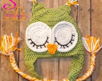 Crochet Sleeping Owl Hat Green
