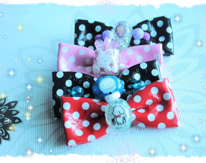 Very Cute Bow Hair Clips with resin Sanrio Characters