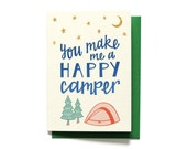 Valentines Day Card - Love Card - Happy Camper - Anniversary Card - Camping Card - Valentine Card - LV11