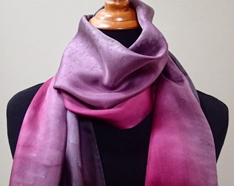 Hand painted silk scarf in reds, purples