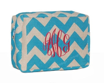 Personalized Cosmetic Bag | Monogrammed Cosmetic Bag | Travel Cosmetic Bag | Make Up Bag | Chevron Make Up Bag | Aqua Chevron Cosmetic Bag