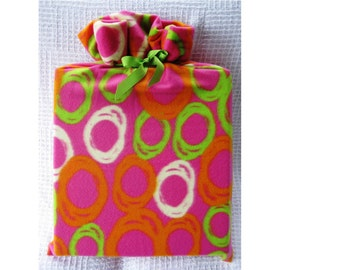 Hot Pink Colorful Reusable Gift Bag with Lime Green Ribbon Tie for Christmas or Birthday