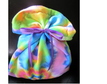 Colorful Flower Fleece Reusable Fabric Christmas or Birthday Gift Bag with Ribbon Tie