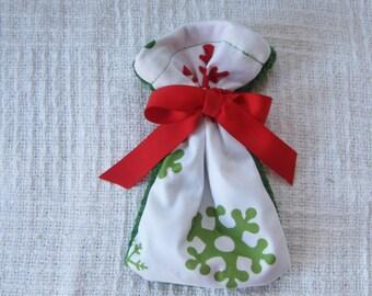 Snowflake and Christmas Green Fleece Gift Card Size Fabric Gift Bag
