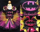 Bat girl tutu set age name hot pink