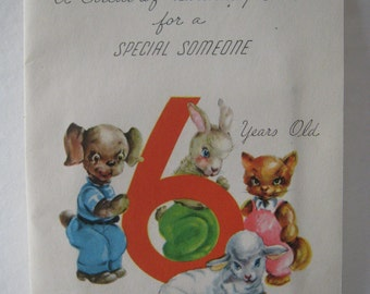 Wonderful inter-active vintage birthday card for a 6 year old