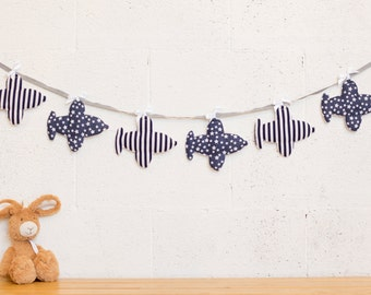 dark blue airplane garland, Baby room decor, Baby boy nursery decor, Baby bunting garland